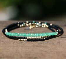 Natural Black Spinel Columbian Emerald Long Necklace wrap Bracelet 14k Gold Fill