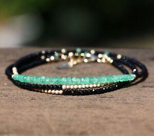 Natural Black Spinel Columbian Emerald Long Necklace wrap Bracelet 14k Gold Fill