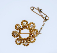 Vintage Jewelry Yellow Gold Brooch Pearl Art Deco Vintage Jewellery