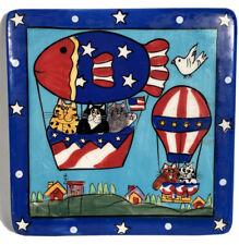 Catzilla 2003 Trivet by Candace Reiter-Cat Patriotic Hot Air Balloon