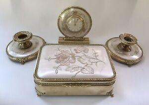 Regent Of London Embroidered Vanity Set Bedside Clock Jewellery Box Candlesticks