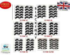 10 Pairs 20 3D Natural False Eyelashes Thick Mix volume Fake Eye Lashes Makeup