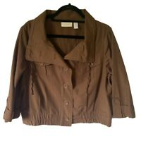Chicos Womens Cropped Blazer Jacket Brown Drawstring Buttons Flap Pocket L 2 New