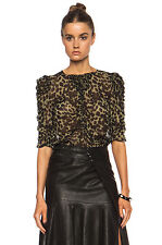 "NWOT ISABEL MARANT ""Caja"" Leopard Print Blouse SZ 34 Ruched Sleeve Top Shirt"