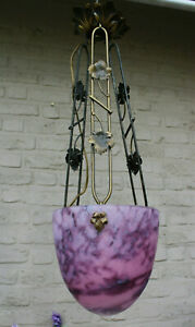 French glass paste pendant lamp chandelier cast iron art nouveau design