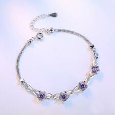 Real 925 Silver Women Amethyst Crystal Flower Chain Bracelet Fashion Jewelry