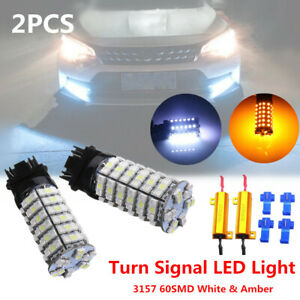 12V 3157 60SMD 2 Color Switch backwards White Amber Turn Signal LED Light Bulbs