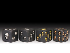 "Skull Face 1.5"" Black Gaming Dice set of 4  White, Silver, Gold and Bronze"