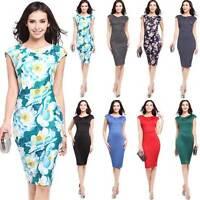 Women Business Formal Pencil Dress Slim Celeb Twist Party Club Midi Bodycon 8-16