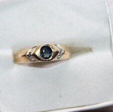 14K  gold  band  Diamond and Sapphire size 6.5