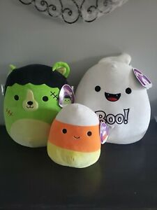 """2021 SQUISHMELLOW HALLOWEEN 3 LOT 12"""" GRACE 12"""" LEN 8"""" CANNON NEW WITH TAGS"""