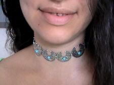native american turquoise stones crescent moon choker