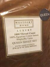 Westport Homes 1000 Thread Count 100% Premium long staple Cotton Queen Sheet Set