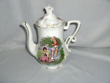 Vintage Antique Coffe Pot Teapot Hand Painted Children Germany Signed NICE