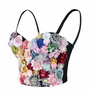 ELLACCI Women's 3D Floral Rose Bustier Crop Top Wedding Party Bra Corset Tops