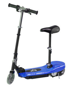 Kids 24v Battery Electric E Scooter Ride On Escooter LED Running Light Seat Blue