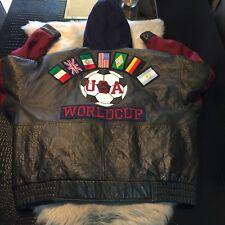 U.S.A. World Cup J. Elkins for Alamo Uomo Leather Varsity Soccer Jacket XXL NICE