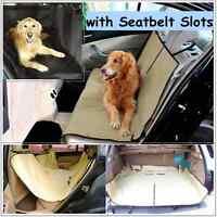 Waterproof Pet Car Seat Cover Dog Hammock Protector Back Mat with Seatbelt Slots