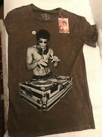 BRUCE LEE DJ T-SHIRT Olive Wash MENS VINTAGE MARTIAL ARTS GRAPHIC TEE ( Small )