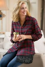 NEW SOFT SURROUNDINGS Apres Ski Embellished Flannel Shirt Red Cotton  S 6-8