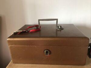 Vintage Veteran Series Metal Cash Tin Box with Lock and Key