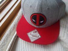 SNAPBACK ORIGINAL MARVEL DEAD POOL CAP HAT RED GRAY HIPHOP WOOL BLEND ADJUSTABLE
