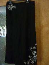REBAJAS Laura ashiey preciosa falda larga negra, flores  mujer TALLA 42,44,46