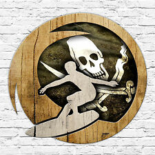 260 x 260mm Metal Sign distressed pirate surf driftwood effect design surfer
