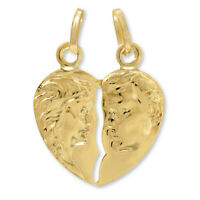 14k Yellow Gold Couple Broken Breakable Split Heart Pendant Charm valentines day