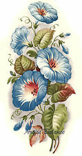 Ceramic Decals Blue Morning Glory Floral Flower