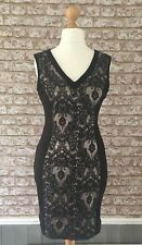 WAREHOUSE Smart Party Special Occasion Black Lace Panel Wriggle Dress Size 14