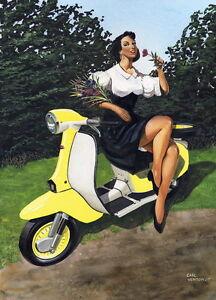 Retro Lambretta and Damsel - Scooter, Vespa, Lambretta Print