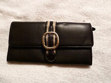 Michael Kors MONTAUK STRIPE BLACK Leather Carry All Wallet $188 NWT - REDUCED