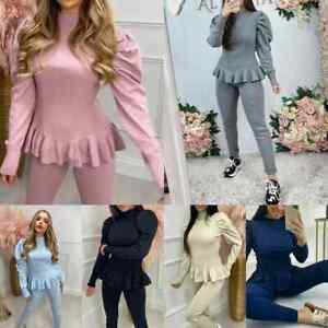 New Womens Ladies Frill Peplum Puff Fine Knit Rib Two Piece LoungeWear Tracksuit