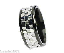 Three Part Spinner Stainless Steel Mens Ring Size 11