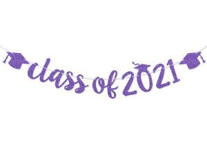 class of 2021 purple glitter banner prestrung