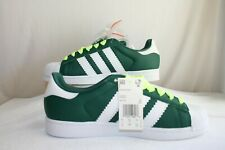 Adidas BD7419 Superstar Green White Hi Vis Extra Laces Casual Sneakers US10 NWOT