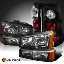 For Black hevy 2003-2006 Silverado Headlights+Bumper Lamps+Tail Brake Lights