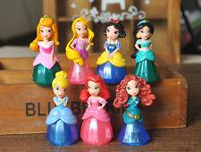Disney Princess PVC finger Figures 7pc set toy doll Cake Topper Rapunzel Jasmine