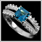 GENUINE LONDON BLUE TOPAZ & WHITE CZ STERLING 925 SILVER RING SIZE 7-US, or N-UK