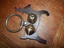 Leather door knob hanger Reindeer Bells 6 x 6 in. Pre Owned