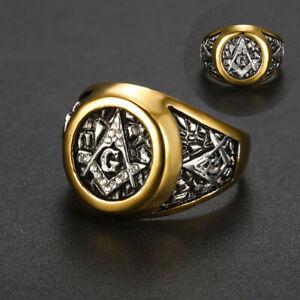 Men's Luxury Masonic Rings 316L Stainless Steel Freemasonry Retro Biker Ring