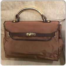 Authentic Moschino Redwall Vintage Brown Nylon/Leather Satchel Bag
