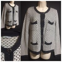M&S Woman UK 12 Knitted Jacket Textured Cardigan Classic Smart Navy Work Career