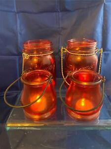 Vintage Set Of Ruby Red Tea Lights Two Made with Canning Jars Pre-Owned