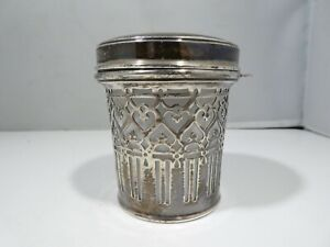 TIFFANY & CO STERLING SILVER AND MILK GLASS  MUSTARD POT