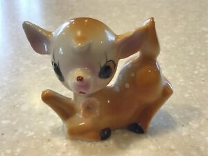 Vintage Big Eye Deer Fawn Figurine Figure Ceramic Spotted Japan