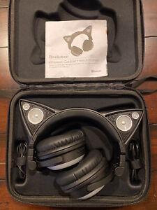 Brookstone Cat Ear Headphones Color Changing WIRELESS Bluetooth - MINT!!!!