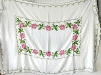 "Vintage rectangle 90""x66"" white linen embroidered table cloth cross stitch roses"
