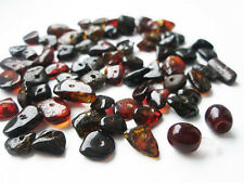 REAL BALTIC AMBER HOLED LOOSE BEADS- 65 pcs + 1 PLASTIC SCREW CLASPS